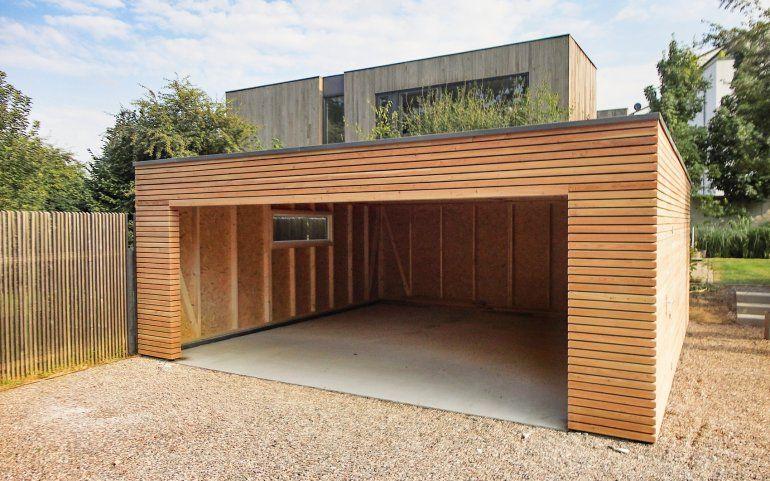 Holzgarage Naturhouse Garage Bois Toit Plat Garage Moderne Design Garage