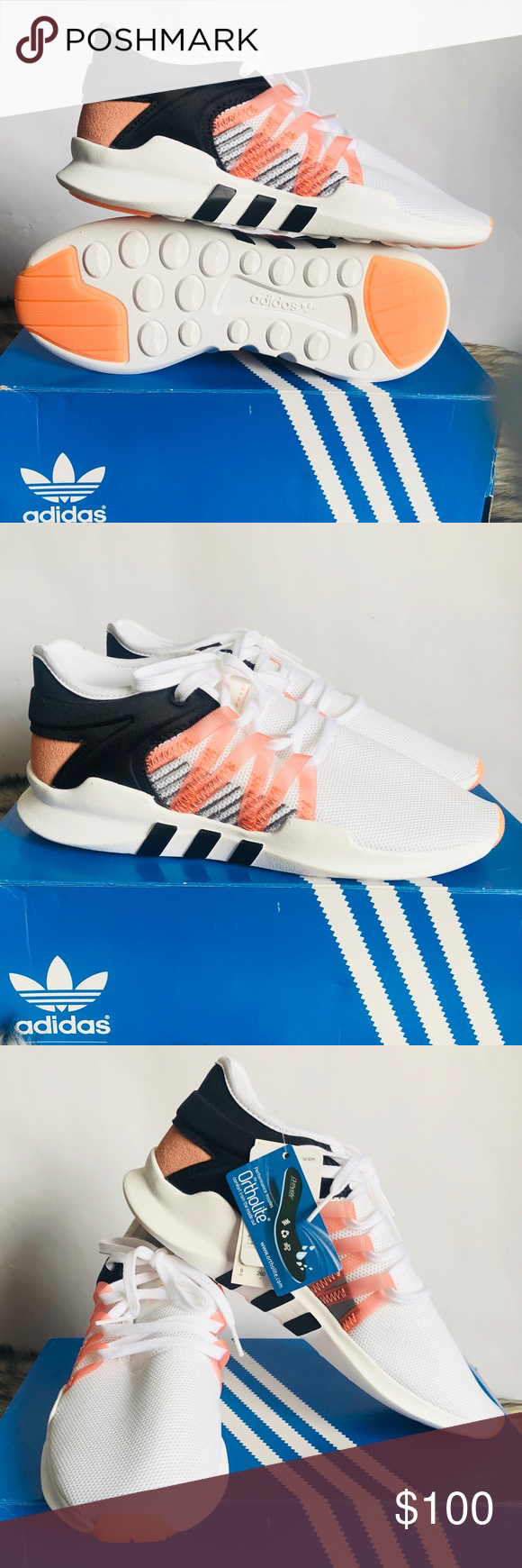 8cf358b38d05 Adidas Originals Women s EQT RACING ADV  NWT  No Box  Originals CQ2156   Footwear White  Chalk Coral - Core Black  Performance Insoles by Ortholite  adidas ...