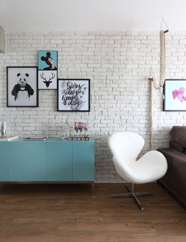 Neste Apartamento Pequeno O Tijolinho D Cara De Loft Aos  ~ Parede De Tijolinho No Quarto E Modelos De Quarto Pequeno