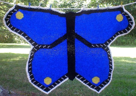 My Butterfly Baby Blanket design sample, on Etsy. Knit in ...