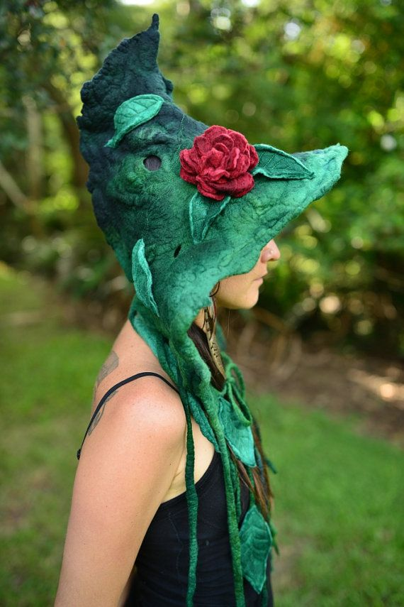 Felt Fairy Leaf And Vine Pixie Pointed Hooded Flower by frixiegirl