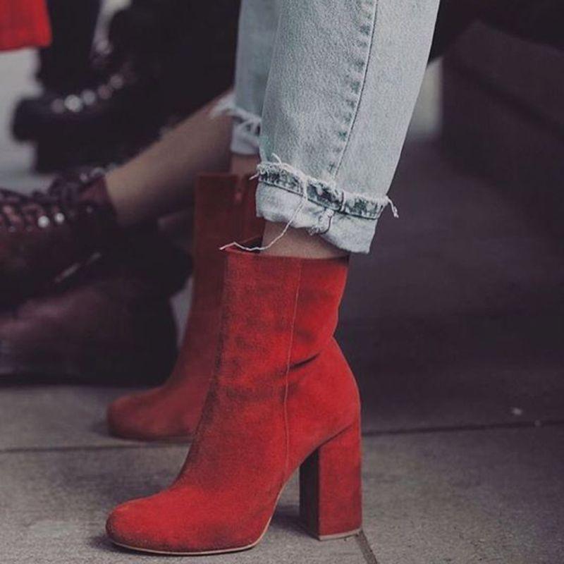 eafbc262571 Chunky Heel Side Zipper Ankle Boot in 2019   Shoespie Booties ...