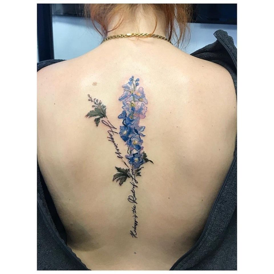My First Tattoo A Blue Delphinium Done By Kaitlin At Evolvink In Morristown Nj Tattoos Larkspur Tattoo Delphinium Tattoo Tattoos