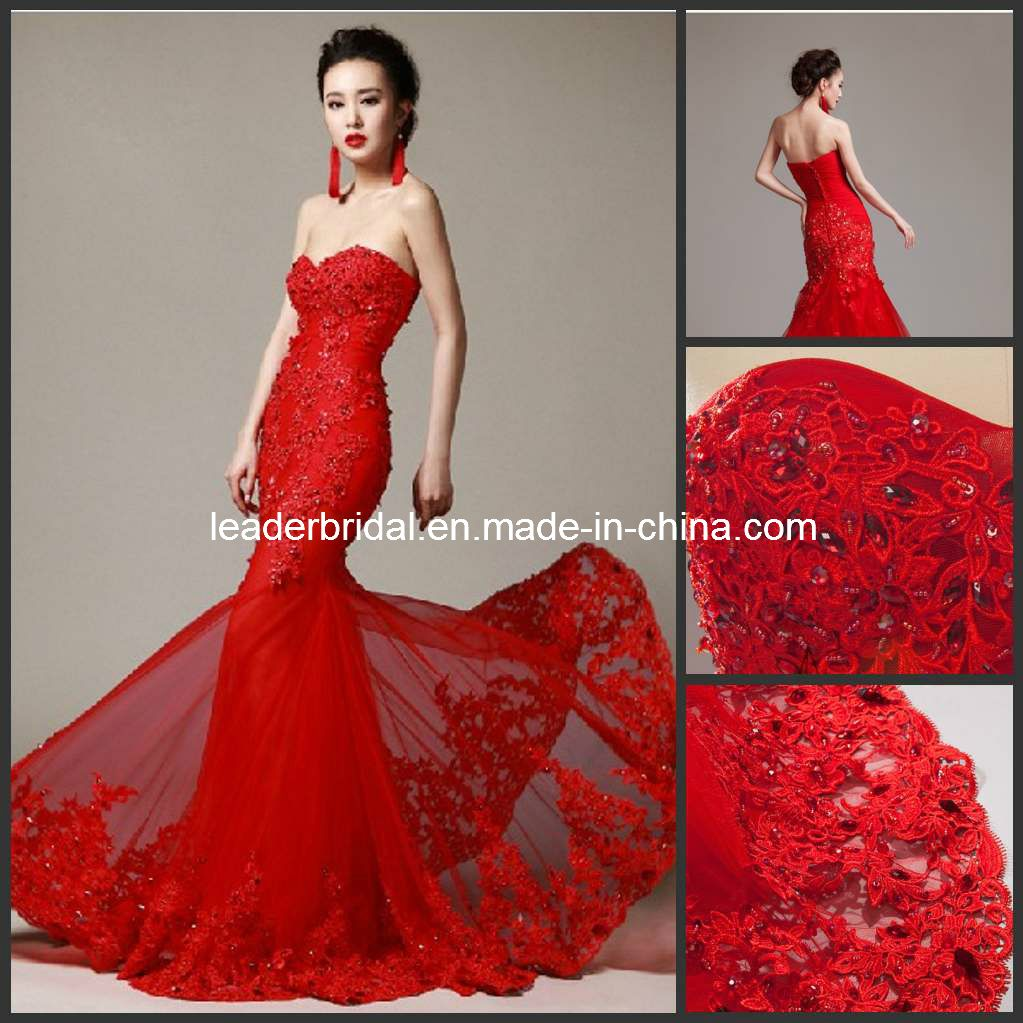 Black And Red Mermaid Wedding Dress Lace