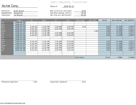 semi monthly timesheet with vacation and sick day calculation