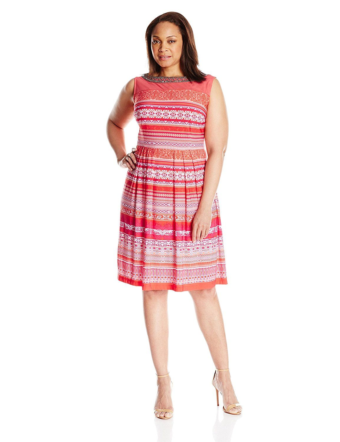 Sandra Darren Women\'s Plus Size Printed Dress with Beaded ...