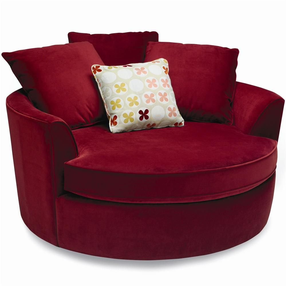 Nest Round Upholstered Chair With Pillow Back By Stylus At Bigfurniturewebsite Round Swivel Chair Round Chair Comfy Chairs