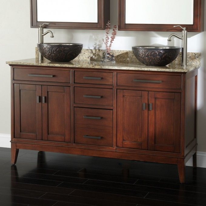 60 Tobacco Madison Double Vanity With Vessel Sinks Bathroom