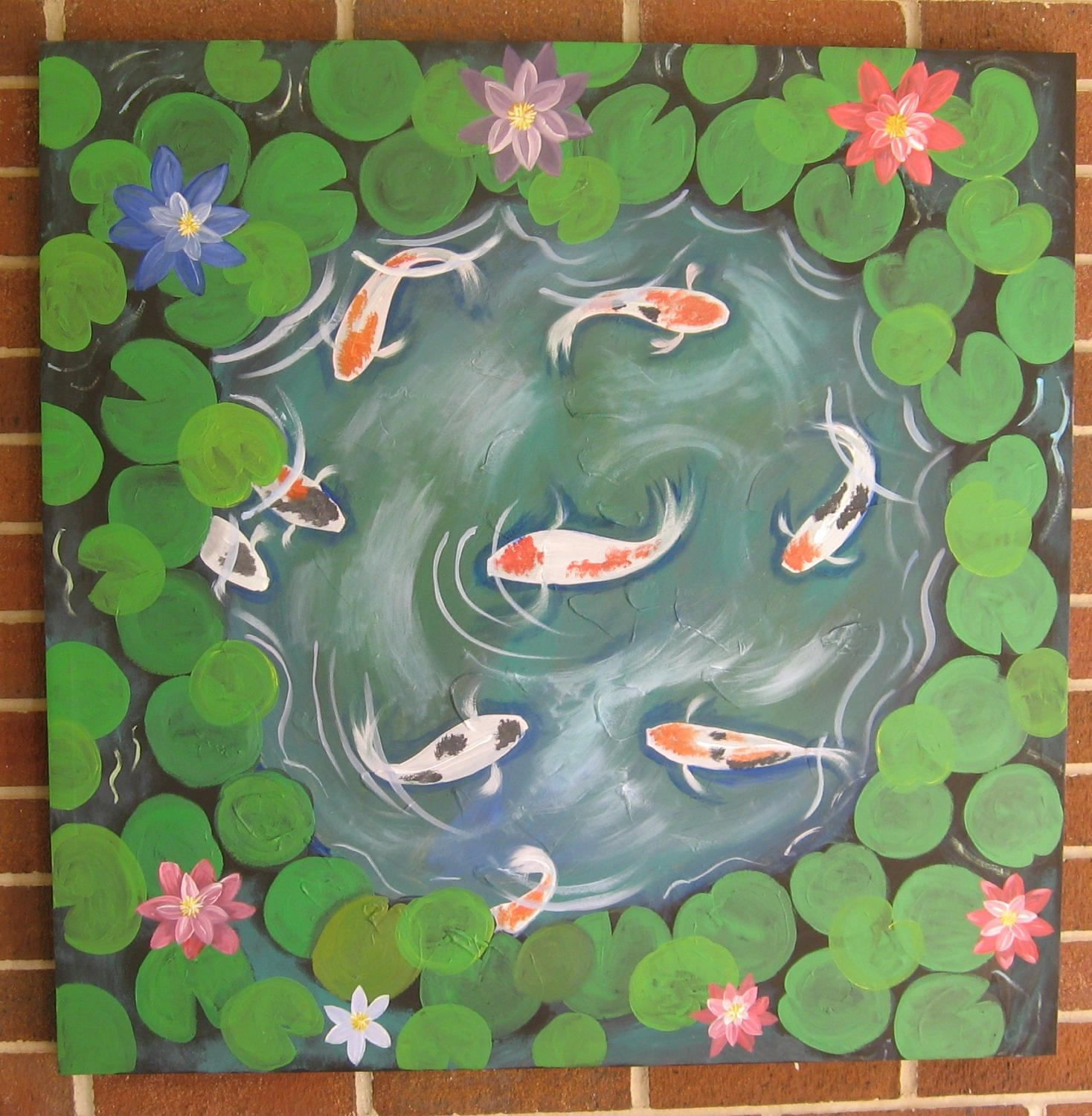 Water Lily Painting Koi Painting Large Koi Pond Water Lilies Water ...