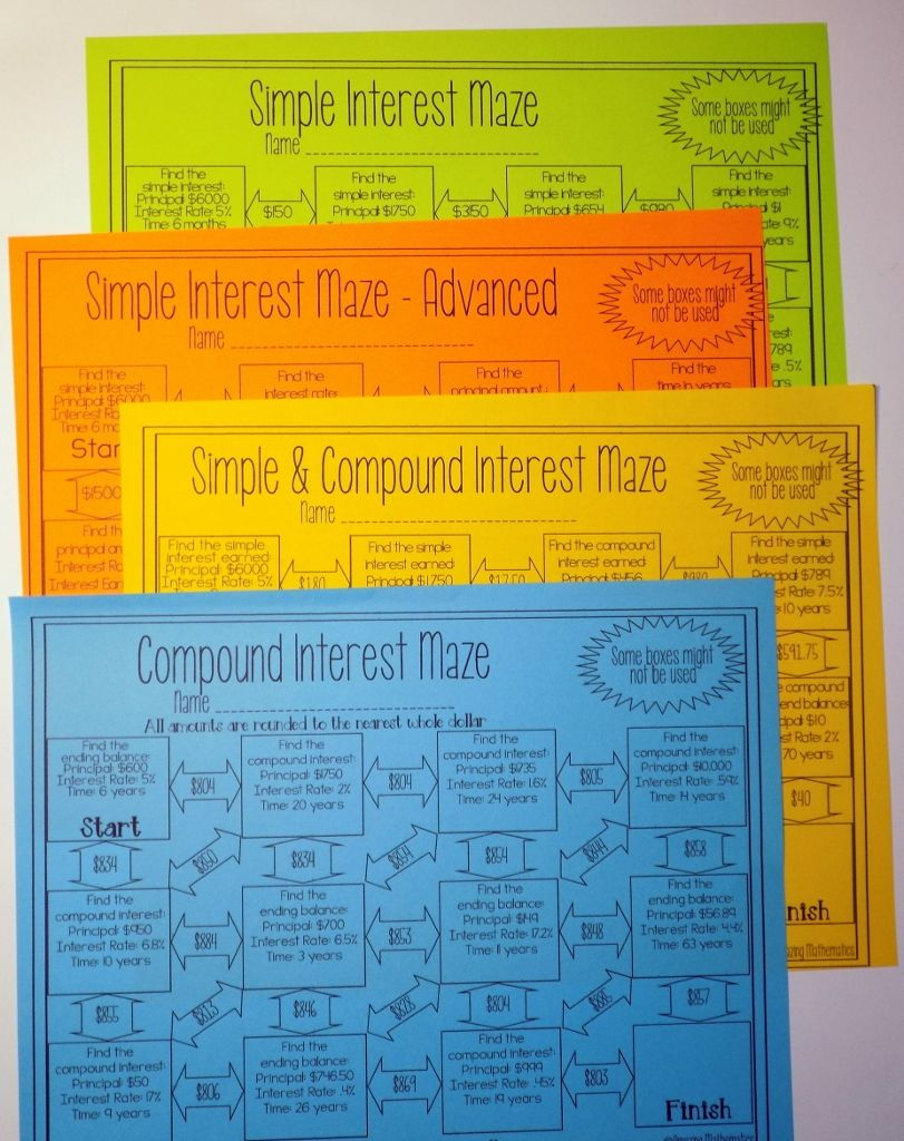 worksheet Compound Interest Word Problems Worksheet simple and compound interest activities bundle 5 mazes 1 set of task cards