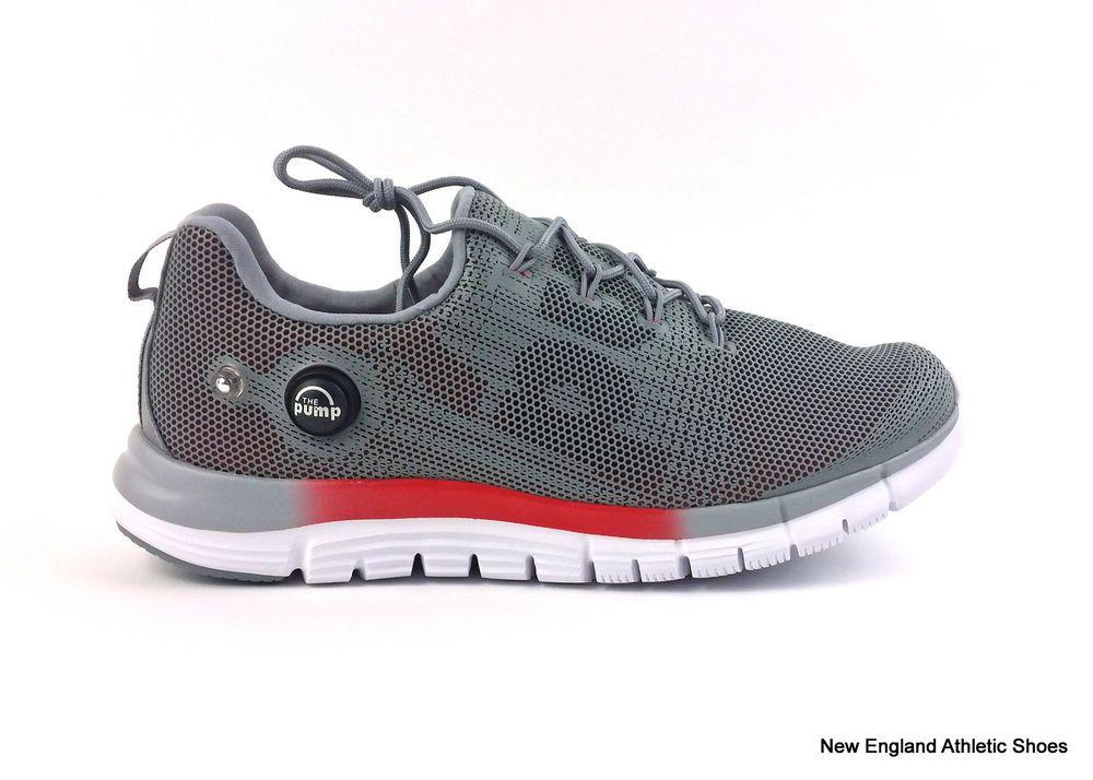 Reebok mens Z Pump Fusion running shoes sneakers trainers Grey Red White  Black