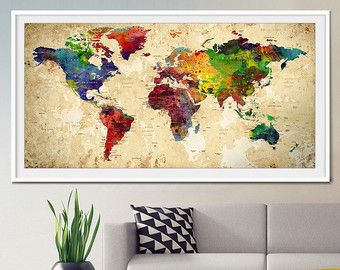 Gran mundo mapa acuarela Push Pin, Push pin viajes mundo mapa arte de la pared, Extra grande acuarela mundo mapa Poster, Home Decor impresión (L26) #worldmapmural