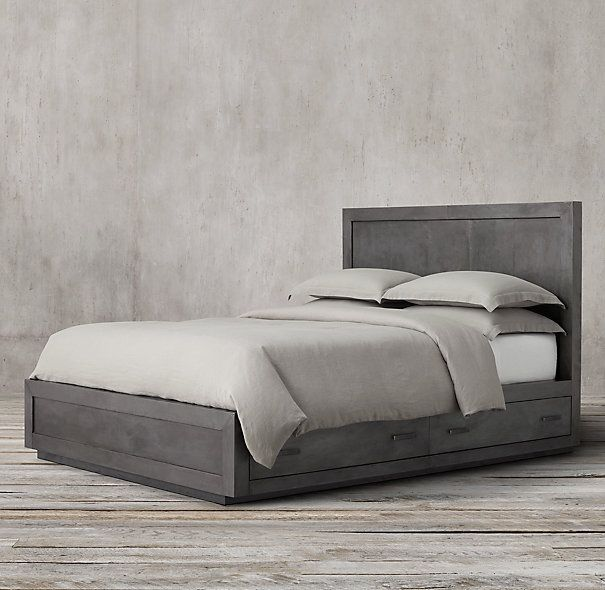 Beautiful Modern Rustic Grey Bed With Storage Bed Storage Bed Bed Without Footboard