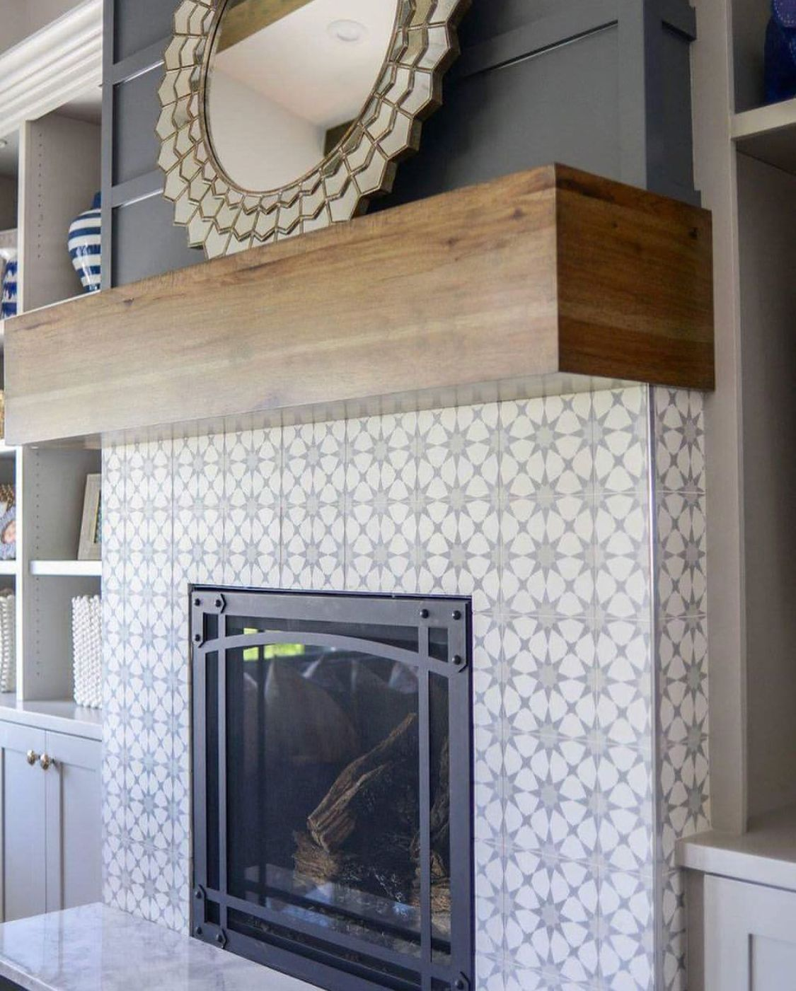 Concrete Tile Fireplace With Hollow Beam Mantel Dark Gray