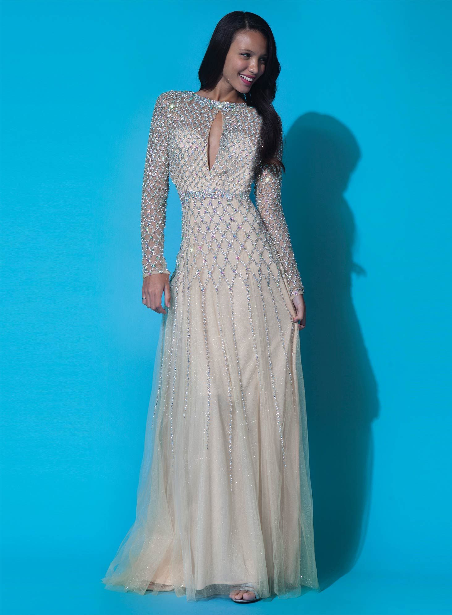 Open back long sleeve jovani dress jovani gowns pinterest