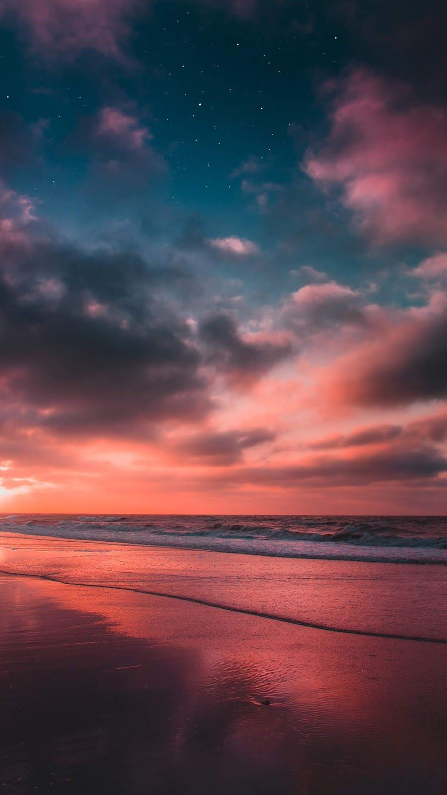 Beach in the night sky wallpaper iphone android