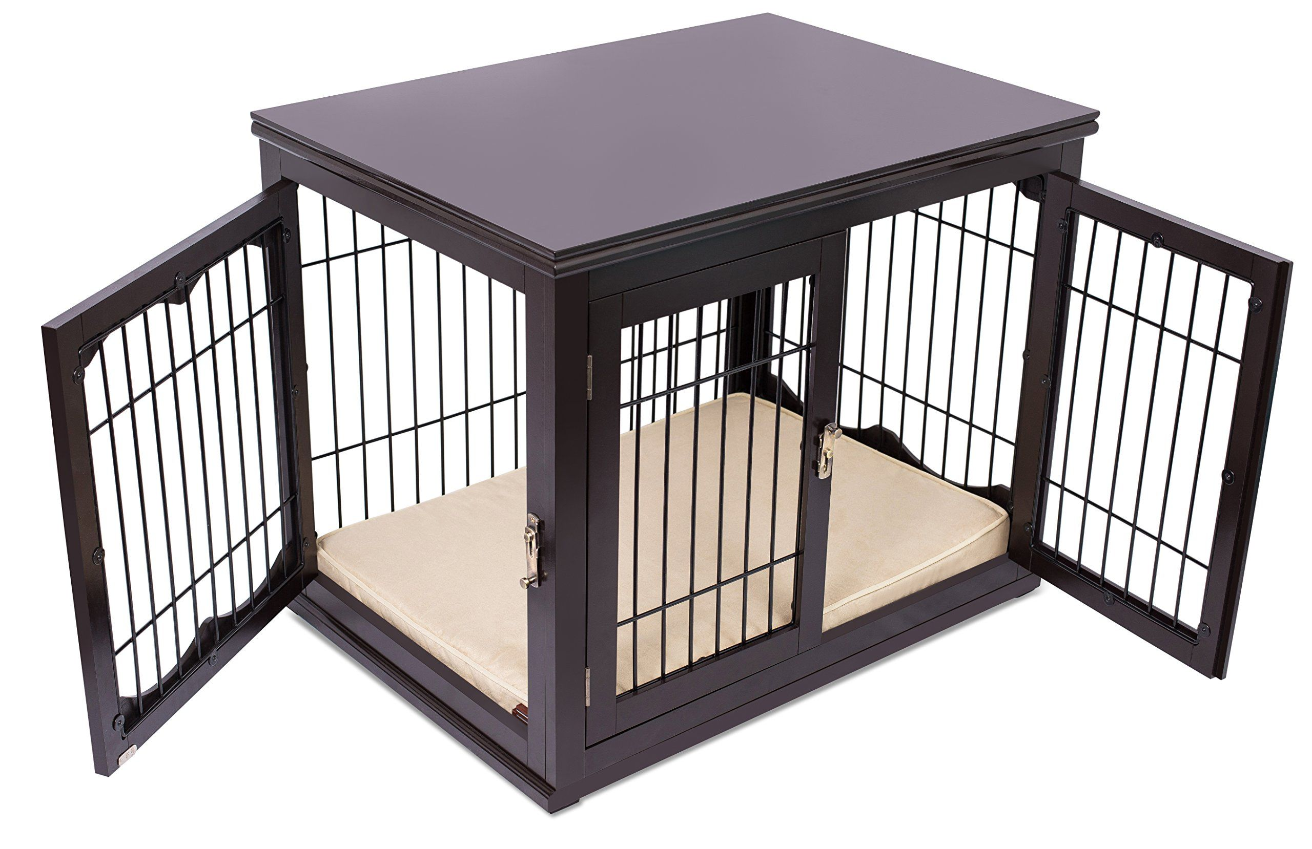 Internets Best Decorative Dog Kennel With Pet Bed Double Door
