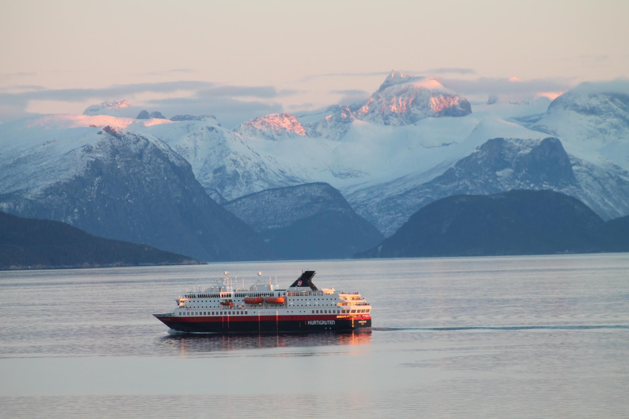 This Is The Norwegian Hurtigruten On A Cruise Along The