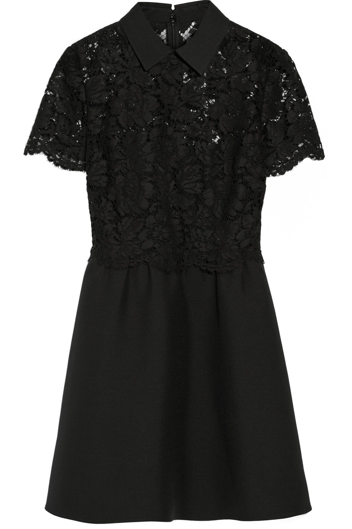 Valentino Woman Tulle-paneled Beaded Wool And Silk-blend Mini Dress Black Size 42 Valentino Genuine Cheap Price AAvIQhNaGT