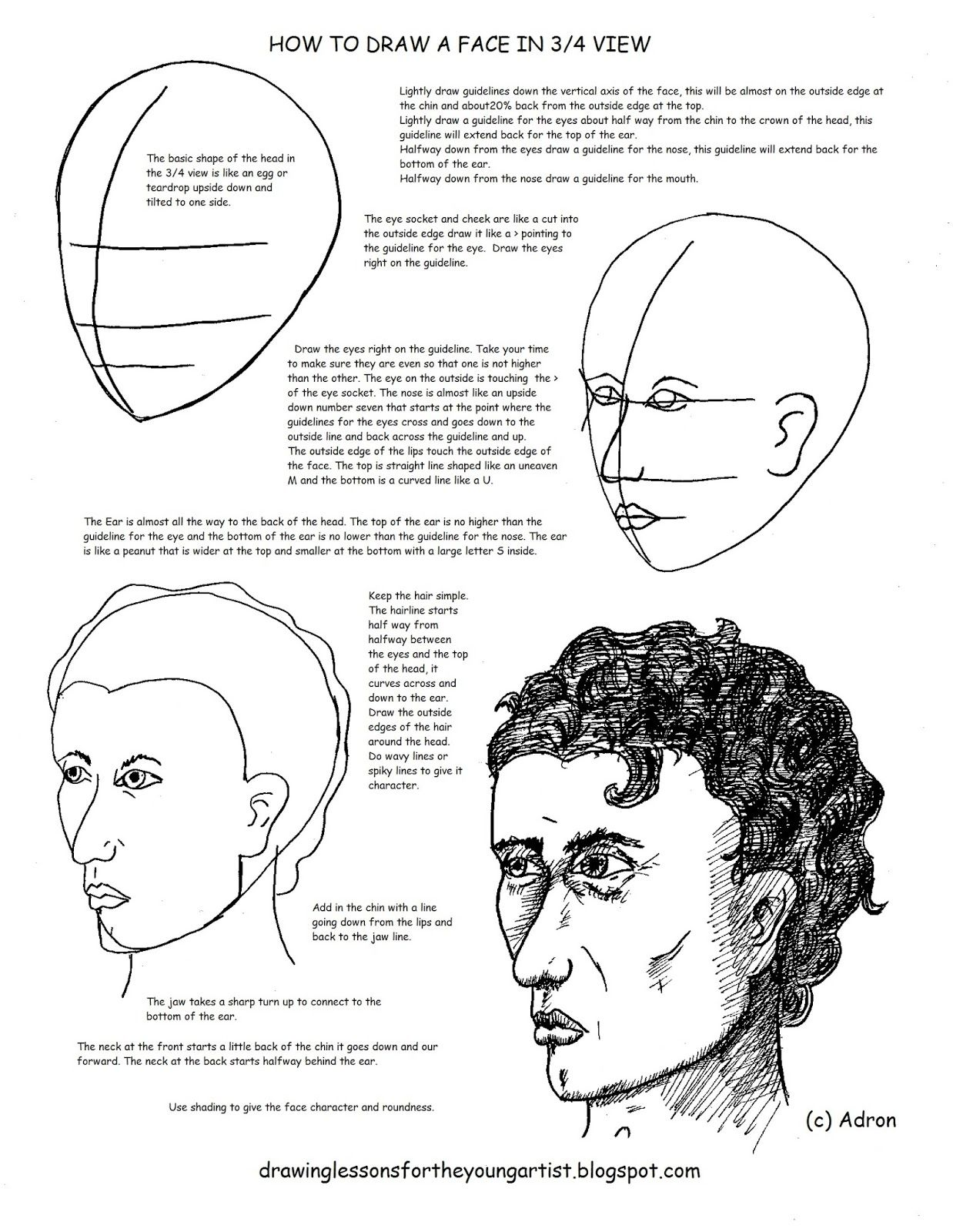 How To Draw A Man S Face In 3 4 View Worksheet