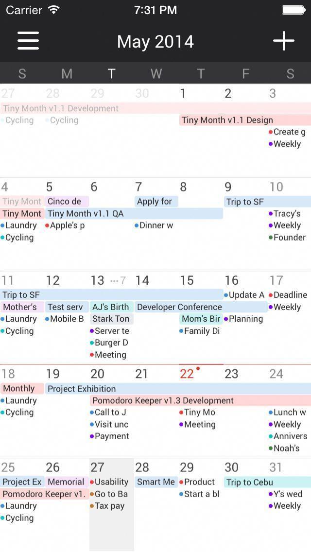 Tiny Month Easy calendar app for iCal Google Outlook