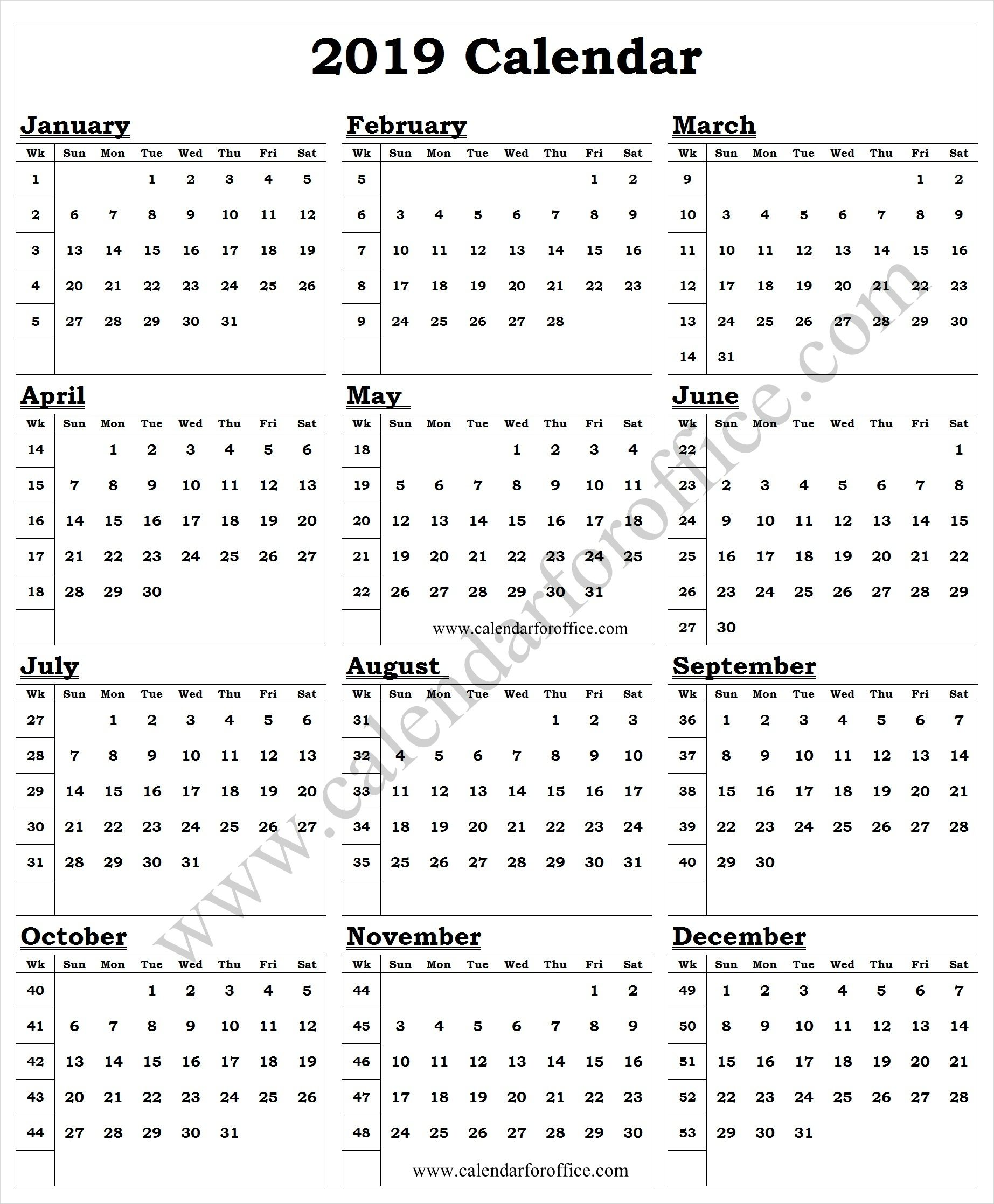 2019 Year Calendar With Week Numbers Printable Template Calendar
