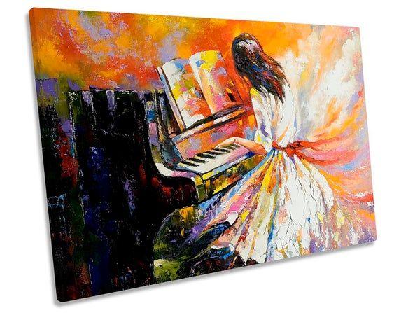 Piano Girl Dress Woman Music CANVAS WALL ARTWORK Print Art