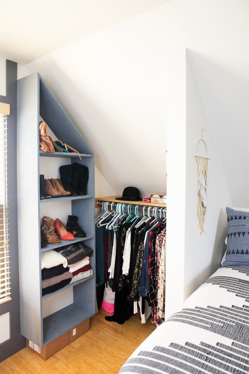 Overcoming An Awkward Space Smart Solutions From A Charming Rental Bedroom Closet Bedroom Apartment Closet Organization Closet Apartment
