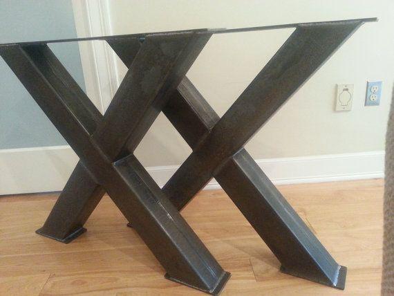 Grosse X 4 X 4 Pieds De Table En Acier Par Dirtfrogfurniture Industrial Metal Table Legs Metal Table Legs Steel Table Legs