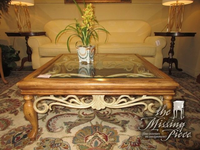 glass top coffee table on a medium wood frame with cream colored metal detail ideal - Cream Colored End Tables
