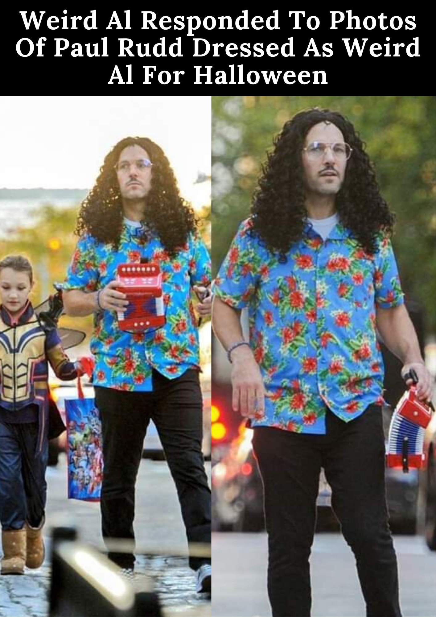 Weird Al Responded To Photos Of Paul Rudd Dressed As Weird Al For Halloween In 2020 Paul Rudd Celebrity Halloween Costumes Rudd