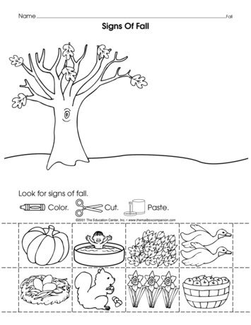 Signs Of Fall Lesson Plans The Mailbox Fall Preschool Activities Fall Worksheets Kindergarten Worksheets