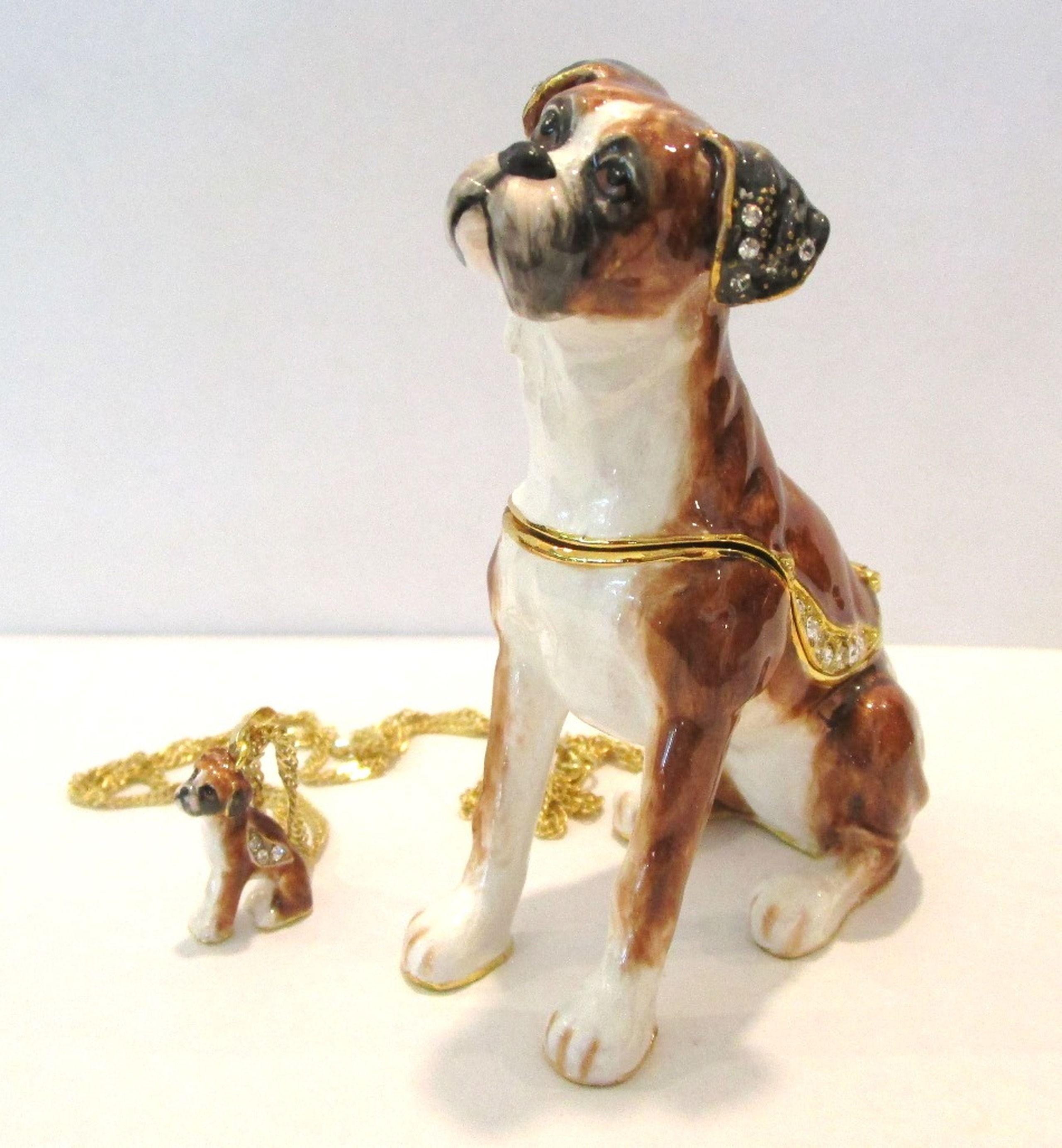 Bejeweled Boxer Trinket Box