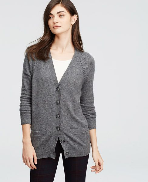 Rendered in indulgent cashmere, we've modernized this layering essential with cable stitching and an oversized-yet-polished silhouette. V-neck. Long raglan sleeves. Button front. Front welt pocket. Ribbed cuffs and hem.