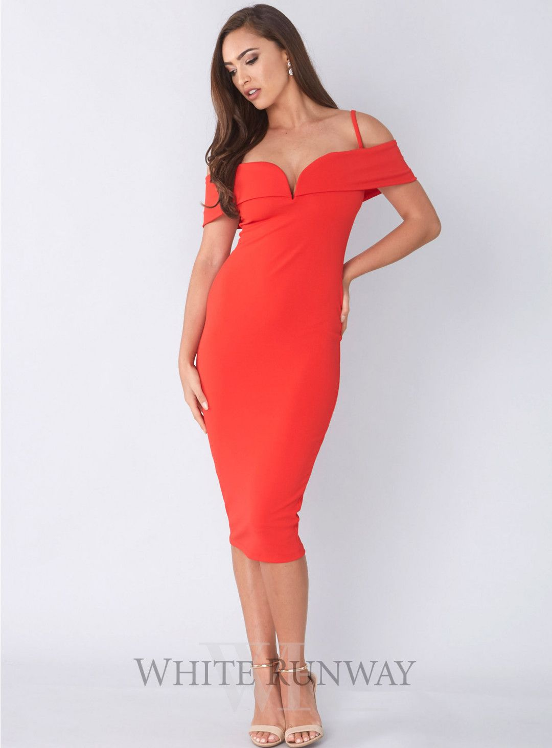 707e7397a0 Pretty Woman Midi Dress. A gorgeous midi dress by Nookie. An off shoulder  dress featuring a curved v-front and thin shoulder straps.