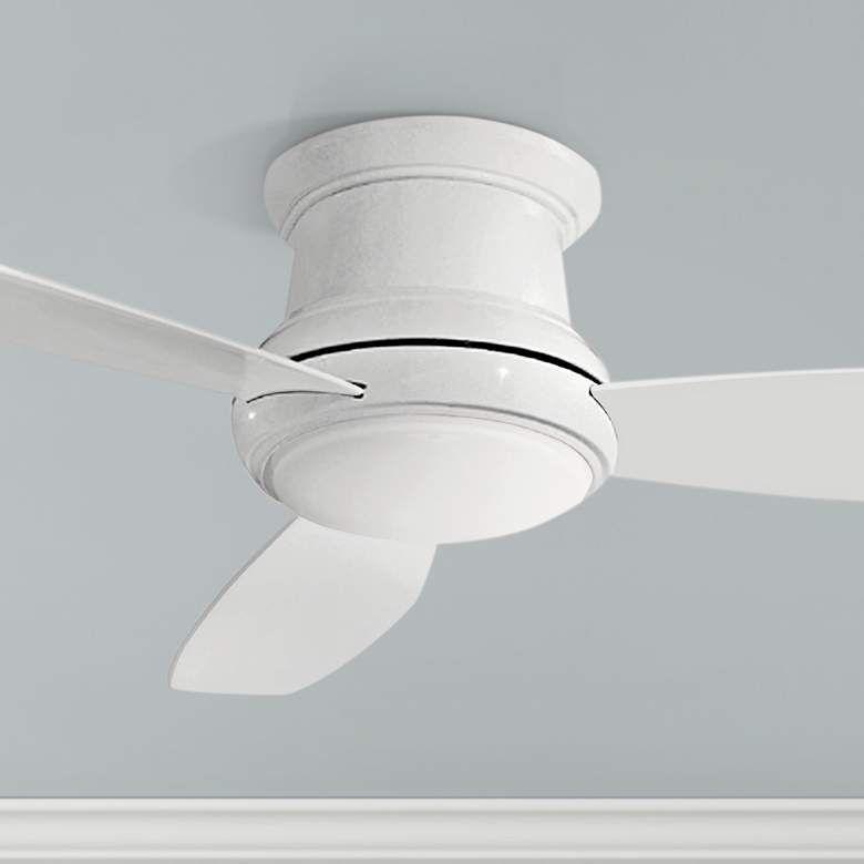 52 Concept Ii White Flushmount Led Ceiling Fan 19w21 Lamps