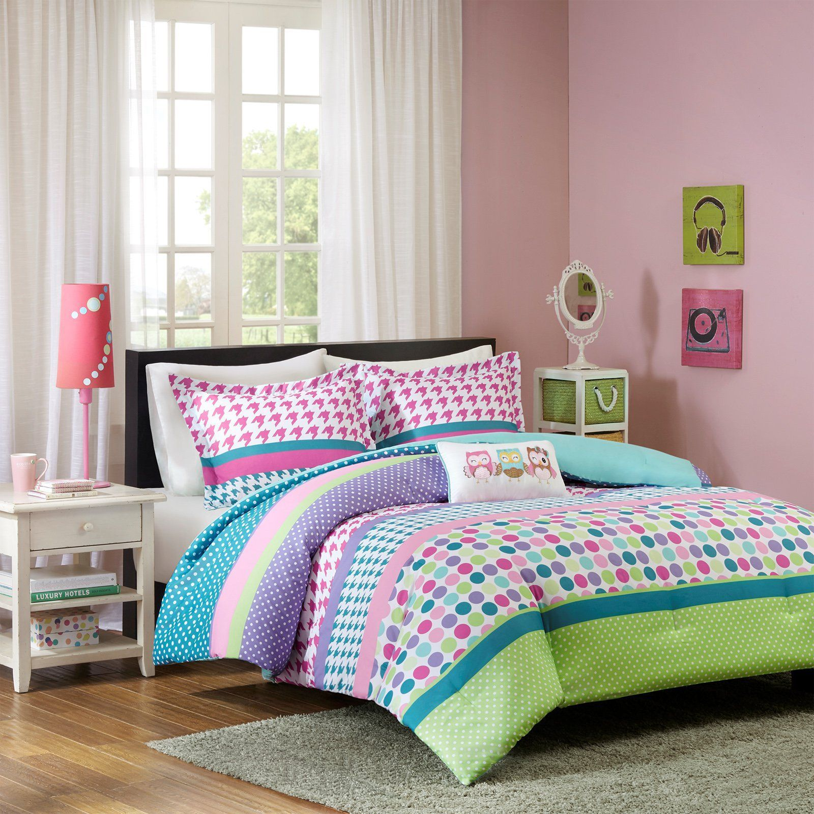 Jenny 3 Piece Comforter Set By MiZone   Wide Stripes Filled With Fun Polka  Dots And