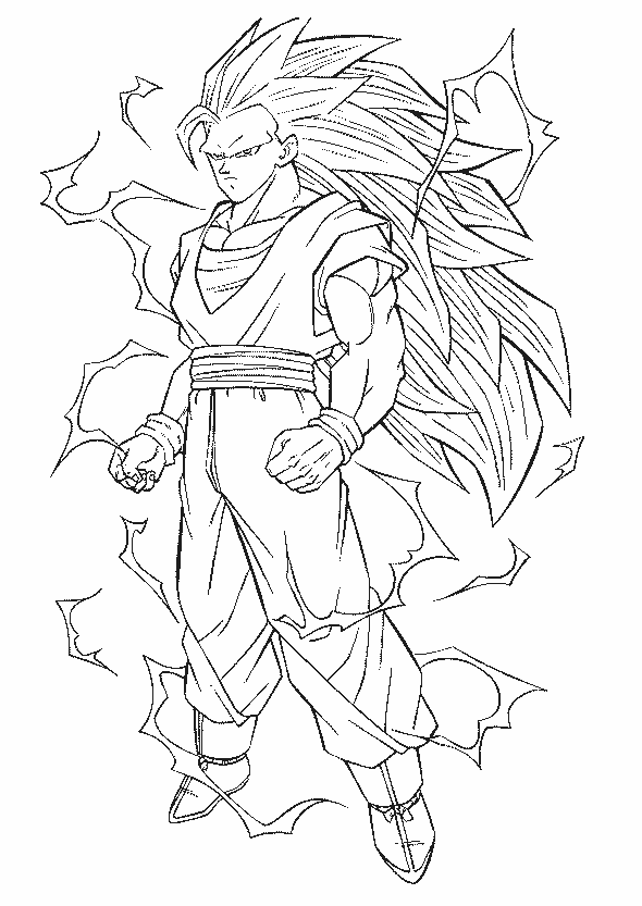 Dragon Ball Full Power Goku Super Saiyan 3 Coloring Pages
