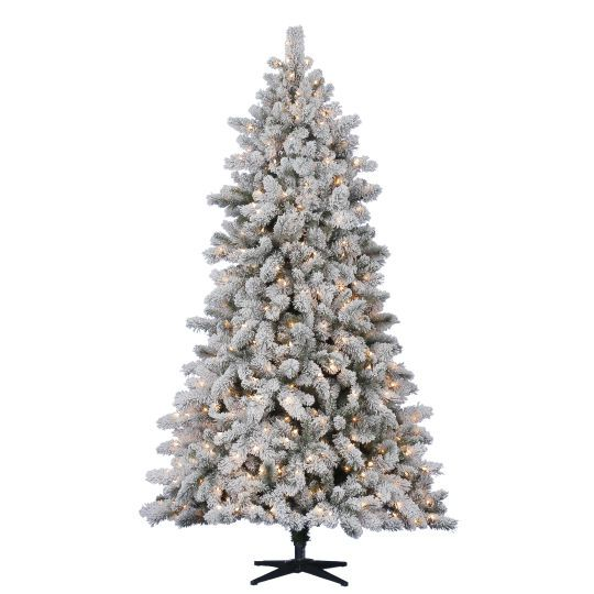 75 Ft Prelit Flocked Pine Christmas Tree By Celebrate It