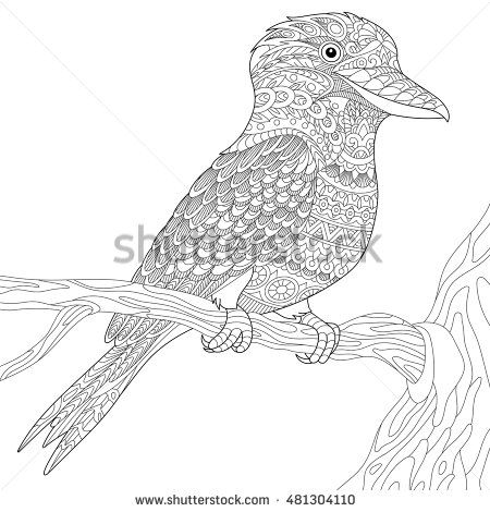 Stylized Australian Kookaburra Bird Isolated On White Background Freehand Sketch For Adult Anti Stress Coloring Book Page With Doodle And Zentangle