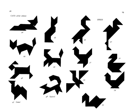 Here's a booklet with 330 tangram shapes and solutions.