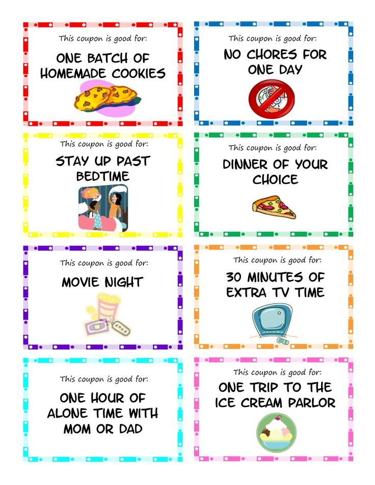 Printable kid coupons to use as stocking stuffers, rewards or - birthday coupon templates free printable