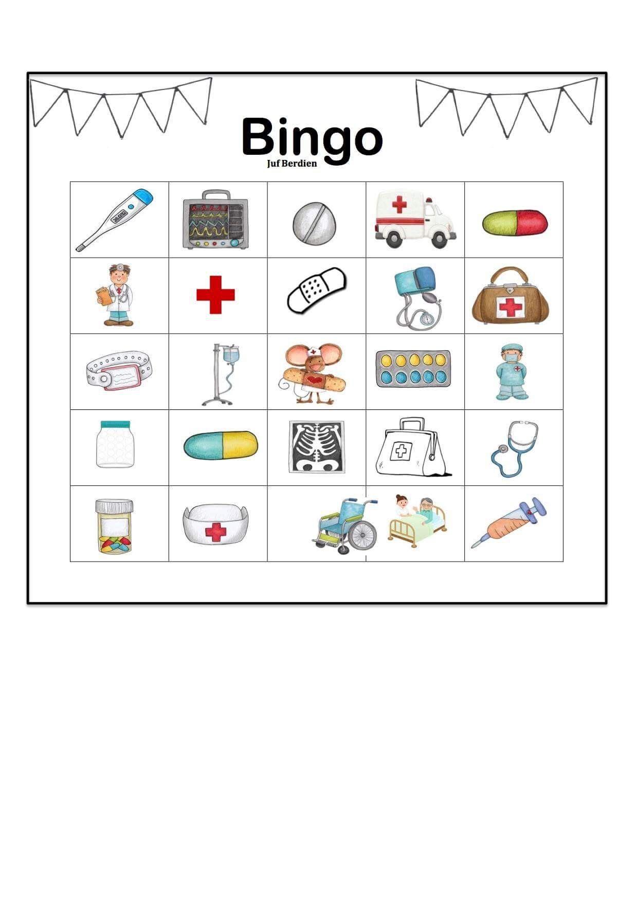 Extreem Juf Berdien thema ziek zijn bingo spel kleuters klas Preschool  AC17