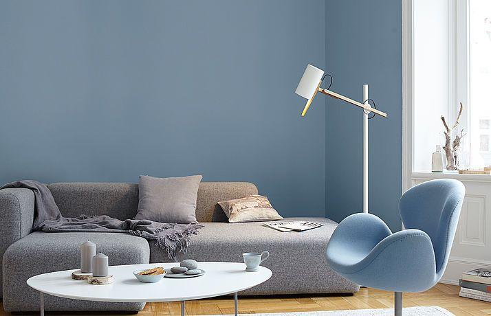 Premium-wandfarbe. Blau, Graublau: Alpina Feine Farben Ruhe Des ... Wohnzimmer Grau Blau