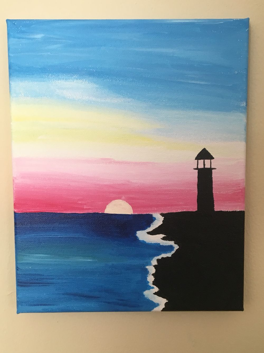 Ocean Shore And Light House Canvas Drawings Painting Art Projects Cute Canvas Paintings