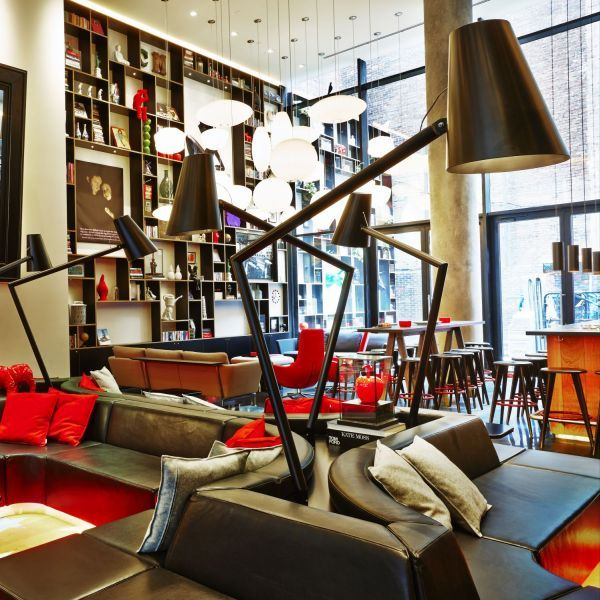 Gewoon BASIC cushions at the Citizen M New York City hotel lobby - design hotel citizenm london