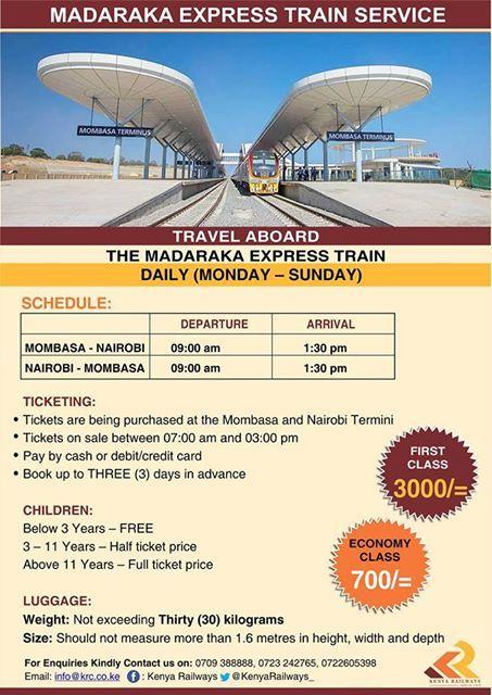 Nairobi to Mombasa Advance Train Booking SGR Madaraka