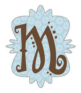 M monogram blue and brown
