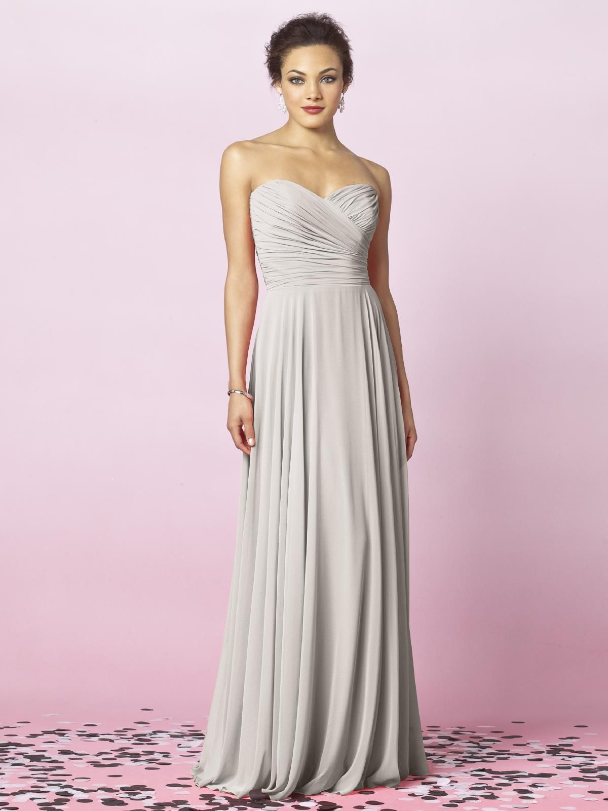 After six bridesmaids style 6639 oyster dressing romantic dessy collection bridesmaids style 6639 strapless full length lux chiffon dress with draped bodice and full skirt ombrellifo Gallery