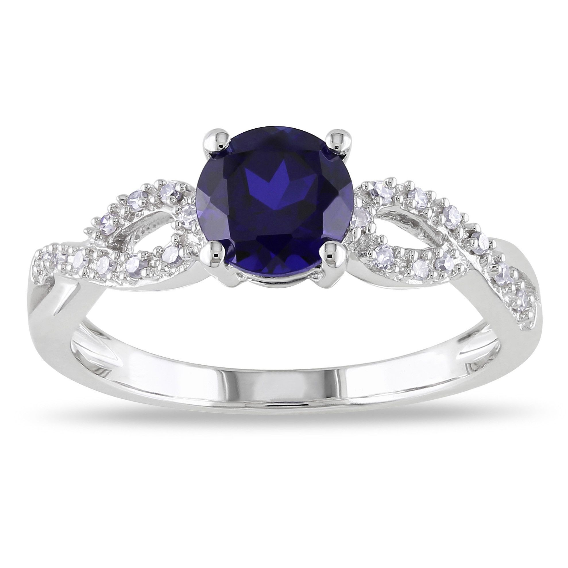 Miadora 10k White Gold Blue Sapphire And 1 10ct Tdw Diamond Ring G H I1 I2 Blue Sapphire Rings White Gold Jewelry